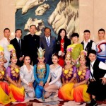 President Mamnoon Hussain in a group photo with the performing artists on the occasion of Chinese National Day Reception for celebrating the 66th Anniversary of the Founding of the People's Republic of China in Chinese Embassy, Islamabad on September 28, 2015.