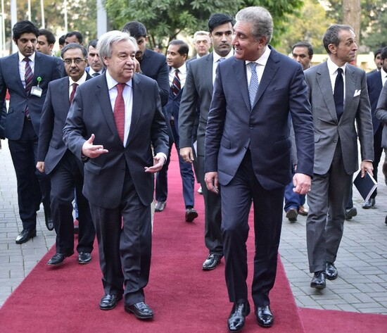 UN Secretary General Antonio Guterres  is  being received  by Foreign Minister Shah Mehmood Qureshi  at Foreign office, Islamabad on February 16, 2020.