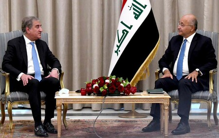 Foreign Minister Makhdoom Shah Mahmood Qureshi called on H.E Barham Salih, President of the Republic of Iraq at Presidential Palace, Baghdad (Iraq)  on 29th May 2021