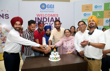 Men's Indian Hockey team Player during Cake cutting cermoney at Gulzar Group of Institutes, Khanna, Ludhiana.resized